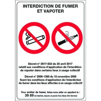PANCARTE INTERDICTION DE FUMER ET VAPOTER