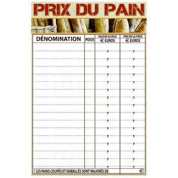 """PANCARTE """"PRIX DU  PAIN"""" 400x300"""