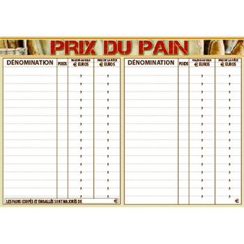 """PANCARTE """"PRIX DU PAIN"""" 300x210"""