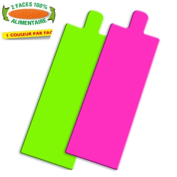 RECTANGLE LANGUETTE COULEUR ANIS/FRAMBOISE