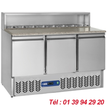 TABLE REFRIGEREE PIZZA 3 PORTES  STRUCTURE 8X GN 1/6 Haut. 150 mm